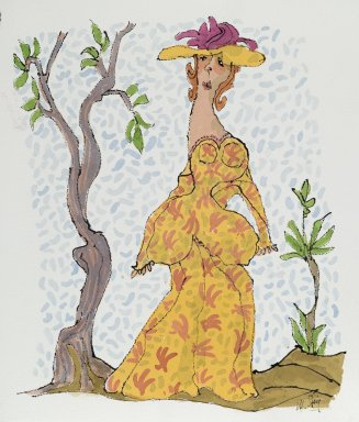 William Steig (American, 1907-2003). <em>[Untitled] (Woman in Yellow Print Dress)</em>. Brooklyn Museum, Gift of Jeanne Steig, 2010.20.97. © artist or artist's estate (Photo: Brooklyn Museum, 2010.20.97_PS2.jpg)