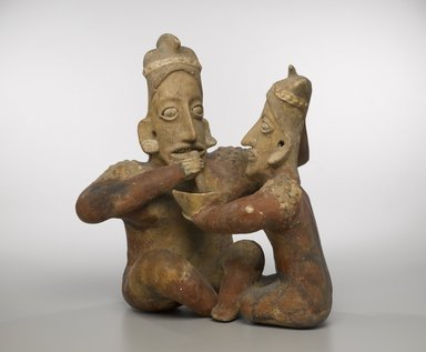 Jalisco. <em>Seated Couple</em>, ca. 100 B.C.E.-300 C.E. Ceramic, 17 1/2 x 15 1/4 x 10 in. (44.5 x 38.7 x 25.4 cm). Brooklyn Museum, Gift of the Coltrera Collection, 2010.23.1. Creative Commons-BY (Photo: Brooklyn Museum, 2010.23.1_PS6.jpg)