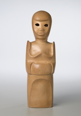 Sargent Claude Johnson (American, 1888-1967). <em>Untitled (Standing Woman)</em>, ca. 1933-1935. Terracotta, paint, surface coating, Overall: 14 1/4 x 4 x 3 1/2 in. (36.2 x 10.2 x 8.9 cm). Brooklyn Museum, Gift of the Estate of Emil Fuchs and Mr. and Mrs. Sidney Steinhauer, by exchange, Robert B. Woodward Memorial Fund, and Mary Smith Dorward Fund, 2010.2 (Photo: Brooklyn Museum, 2010.2_front_PS6.jpg)