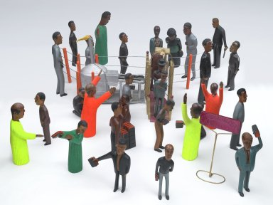 Johannes Mashego Segogela (South African, born 1936). <em>Welcome in Our Peace World</em>, 1993. Wood, paint, wire, synthetic fiber, 17 1/2 x 38 x 66 in. (44.5 x 96.5 x 167.6 cm) [variable]. Brooklyn Museum, Gift of Jerome L. and Ellen Stern, 2010.42. © artist or artist's estate (Photo: Brooklyn Museum, 2010.42_view1_PS6.jpg)