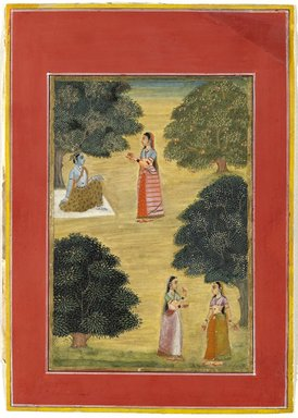 Ruknudin. <em>Krishna and Radha</em>, 1684. Opaque watercolor on paper, Image: 10 5/8 x 7 5/8 in. (27 x 19.3 cm). Brooklyn Museum, Gift of Mr. and Mrs. Robert L. Poster in memory of Dr. Bertram H. Schaffner, 2010.46.5 (Photo: Brooklyn Museum, 2010.46.5_PS6.jpg)