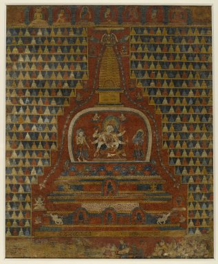 <em>Ushnishavijaya in a Stupa</em>, ca. 1400. Opaque watercolors on cloth, 24 1/2 x 20 1/4 in. (62.2 x 51.4 cm). Brooklyn Museum, Gift of Martha A. and Robert S. Rubin, 2010.47 (Photo: Brooklyn Museum, 2010.47_PS6.jpg)