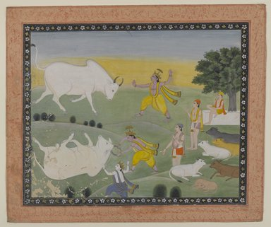 <em>Krishna Defeating the Bull Demon</em>, 19th century. Opaque watercolor on paper, with frame: 17 x 19 x 3/4 in. (43.2 x 48.3 x 1.9 cm). Brooklyn Museum, Bequest of Dr. Bertram H. Schaffner, 2010.48.26 (Photo: Brooklyn Museum, 2010.48.26_PS4.jpg)