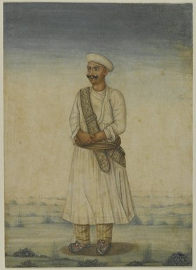 <em>Portrait of a Man</em>, 19th century. Opaque watercolor on paper, with frame: 21 1/4 x 17 1/4 x 1 1/4 in. (54 x 43.8 x 3.2 cm). Brooklyn Museum, Bequest of Dr. Bertram H. Schaffner, 2010.48.60 (Photo: Brooklyn Museum, 2010.48.60_PS4.jpg)