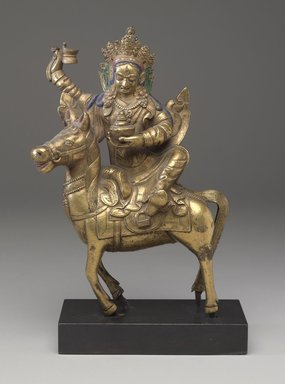 <em>Achi Chokyi Drolma on a Horse</em>, 18th-19th century. Gilt bronze with pigment, 13 3/8 x 6 3/8 x 1 15/16 in. (34 x 16.2 x 5 cm). Brooklyn Museum, Bequest of Dr. Bertram H. Schaffner, 2010.48.8. Creative Commons-BY (Photo: Brooklyn Museum, 2010.48.8_PS9.jpg)