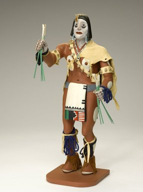 probably Henry Shelton (born 1929). <em>Kachina Doll</em>, 1960-1970. Cottonwood root, acrylic pigment, hide, feathers, fur, yarn, beads, shell, Doll: 16 1/2 x 6 x 7 1/2 in. (41.9 x 15.2 x 19.1 cm). Brooklyn Museum, Gift of Edith and Hershel Samuels, 2010.6.14. Creative Commons-BY (Photo: Brooklyn Museum, 2010.6.14_view2_PS9.jpg)