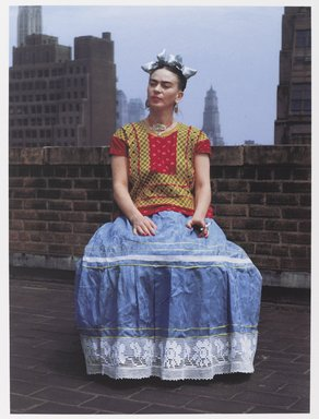 Nickolas Muray (American, born Hungary, 1892-1965). <em>Frida in New York</em>, 1946; printed 2006. Carbon pigment print, sheet: 22 1/16 × 18 in. (56 × 45.7 cm). Brooklyn Museum, Emily Winthrop Miles Fund, 2010.80. © artist or artist's estate (Photo: Brooklyn Museum, 2010.80_PS9.jpg)
