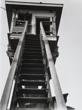 Nathan Lerner (American, 1913-1997). <em>Train Tower</em>, 1940, printed later. Gelatin silver photograph, Sheet: 9 7/8 x 7 7/8 in. (25.1 x 20.1 cm). Brooklyn Museum, Gift of Kiyoko Lerner, 2011.25.11. © artist or artist's estate (Photo: Brooklyn Museum, 2011.25.11_PS4.jpg)