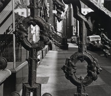 Nathan Lerner (American, 1913-1997). <em>Railing, New York</em>, 1944, printed later. Gelatin silver photograph, Sheet: 10 7/8 x 12 1/2 in. (27.6 x 31.8 cm). Brooklyn Museum, Gift of Kiyoko Lerner, 2011.25.24. © artist or artist's estate (Photo: Brooklyn Museum, 2011.25.24_PS4.jpg)
