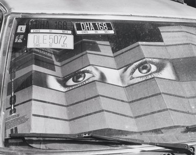 Nathan Lerner (American, 1913-1997). <em>[Untitled] (Eye, Windshield, License Plates)</em>, n.d. Gelatin silver photograph, Sheet: 11 x 14 in. (27.9 x 35.6 cm). Brooklyn Museum, Gift of Kiyoko Lerner, 2011.25.29. © artist or artist's estate (Photo: Brooklyn Museum, 2011.25.29_PS4.jpg)