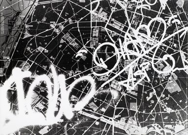 Nathan Lerner (American, 1913-1997). <em>[Untitled] (Graffiti on Map)</em>, n.d. Gelatin silver photograph, Sheet: 11 x 14 in. (27.9 x 35.6 cm). Brooklyn Museum, Gift of Kiyoko Lerner, 2011.25.34. © artist or artist's estate (Photo: Brooklyn Museum, 2011.25.34_PS4.jpg)