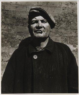 Nathan Lerner (American, 1913-1997). <em>Man with Greasy Coat</em>, 1936, printed 1960's. Gelatin silver photograph, Sheet: 8 1/4 x 7 in. (21 x 17.8 cm). Brooklyn Museum, Gift of Kiyoko Lerner, 2011.25.55. © artist or artist's estate (Photo: Brooklyn Museum, 2011.25.55_PS6.jpg)