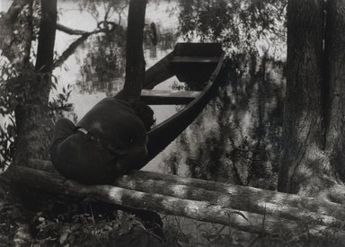 Nathan Lerner (American, 1913-1997). <em>Girl and Boat</em>, 1935, printed later. Gelatin silver photograph, Sheet: 10 1/4 x 13 1/4 in. (26 x 33.7 cm). Brooklyn Museum, Gift of Kiyoko Lerner, 2011.25.5. © artist or artist's estate (Photo: Brooklyn Museum, 2011.25.5_PS4.jpg)