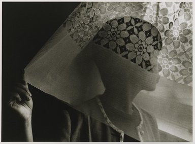 Nathan Lerner (American, 1913-1997). <em>Kiyoko and Curtain, Canada</em>, 1983, printed later. Gelatin silver photograph, sheet: 10 3/4 x 14 in. (27.3 x 35.6 cm). Brooklyn Museum, Gift of Kiyoko Lerner, 2011.25.62. © artist or artist's estate (Photo: Brooklyn Museum, 2011.25.62_PS6.jpg)
