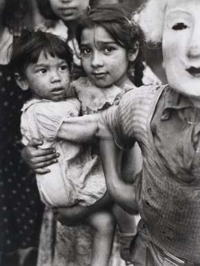 Nathan Lerner (American, 1913-1997). <em>Child and Mask</em>, 1936, printed later. Gelatin silver photograph, sheet: 19 3/4 x 15 7/8 in. (50.2 x 40.3 cm). Brooklyn Museum, Gift of Kiyoko Lerner, 2011.25.64. © artist or artist's estate (Photo: Brooklyn Museum, 2011.25.64_PS4.jpg)