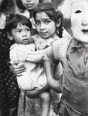 Nathan Lerner (American, 1913-1997). <em>Children and Mask, Chicago 1936</em>, Printed 1983. Selenium-toned print, Sheet: 20 x 16 in. (50.8 x 40.6 cm). Brooklyn Museum, Gift of Kiyoko Lerner, 2011.25.70. © artist or artist's estate (Photo: Brooklyn Museum, 2011.25.70_PS4.jpg)