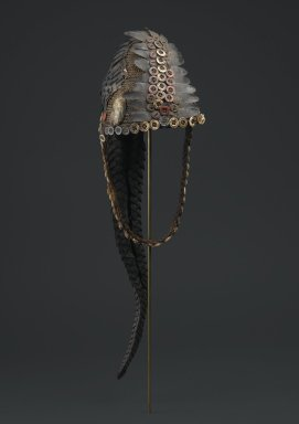 Lega. <em>Bwami Hat for Ngandu or Yananio Level</em>, late 19th or early 20th century. Plant fiber, mollusk shells, cowrie shells, buttons, pangolin scales, and pangolin tail