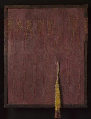 Viyé Diba (Senegalese, born 1954). <em>Red Escape II</em>, 1999. Cotton strip cloth, pigment, sand, wood, metal