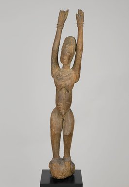 Dogon. <em>Female Figure Standing with Arms Raised</em>, 16th to 19th century. Wood, without separate base: 47 3/4 x 7 1/4 x 8 11/16 in. (121.3 x 18.4 x 22 cm). Brooklyn Museum, Collection of Beatrice Riese, 2011.4.5. Creative Commons-BY (Photo: Brooklyn Museum, 2011.4.5_PS2.jpg)