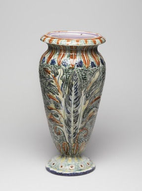 James Carr (American, 1820-1904). <em>Vase</em>, ca.1875. Glazed earthenware, 13 7/8 × 6 1/2 in. (35.2 × 16.5 cm). Brooklyn Museum, Harold S. Keller Fund, 2011.40.1. Creative Commons-BY (Photo: , 2011.40.1_view01_PS9.jpg)