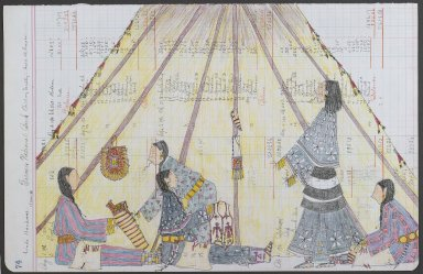 Linda Haukaas (Sicangu Lakota, born 1957). <em>Quilling Society</em>, 2010. Historic ledger paper, ink, colored pencil, 11 1/2 x 17 1/2 in. (29.2 x 44.5 cm). Brooklyn Museum, Gift of the artist, 2011.49. © artist or artist's estate (Photo: Brooklyn Museum, 2011.49_PS6.jpg)