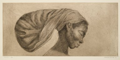 Charles W. White (American, 1918-1979). <em>Jessica</em>, 1970. Etching and drypoint on wove paper, 18 1/8 × 27 9/16 in. (46 × 70 cm). Brooklyn Museum, Gift of Milton and Nancy Washington, 2011.52. © artist or artist's estate (Photo: Brooklyn Museum, 2011.52_PS6.jpg)