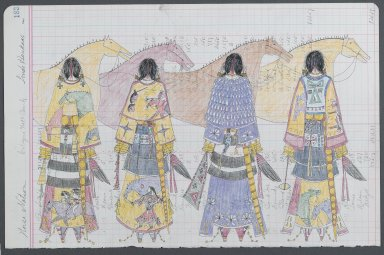 Linda Haukaas (Sicangu Lakota, born 1957). <em>Horse Nation</em>, 2010. Colored pencil and ink on late 1916 ledger paper, each sheet: 11 1/2 x 17 5/8 in. (29.2 x 44.7 cm). Brooklyn Museum, Gift of the artist, 2011.6a-b. © artist or artist's estate (Photo: Brooklyn Museum, 2011.6a_PS6.jpg)