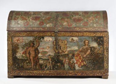 Peruvian. <em>Chest</em>, ca. 1700. Polychromed and gilded leather, wood and iron, 22 13/16 x 33 1/16 x 17 5/16 in. (58 x 84 x 44 cm). Brooklyn Museum, Bequest of William H. Herriman and Caroline H. Polhemus, gift Cornelia E. and Jennie A. Donnellon, by exchange and A. Augustus Healy Fund  , 2011.86.3. Creative Commons-BY (Photo: Brooklyn Museum, 2011.86.3_PS6.jpg)