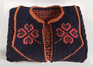 Ellen Lesperance (American, born 1971). <em>Cardigan Worn by One Woman of the Boeing Five, Tried for Entering the Boeing Nuclear Missile Plant on September 27th, 1983, Sentenced to Fifteen Days in the King County Jail for Defending Life on Earth</em>, 2011. Wool sweater hand knit by the artist, and gouache and graphite on tea stained paper, a: 21 1/2 × 29 in. (54.6 × 73.7 cm). Brooklyn Museum, Purchase gift of Jill and Jay Bernstein, 2012.18a-c. © artist or artist's estate (Photo: , 2012.18a_PS11.jpg)