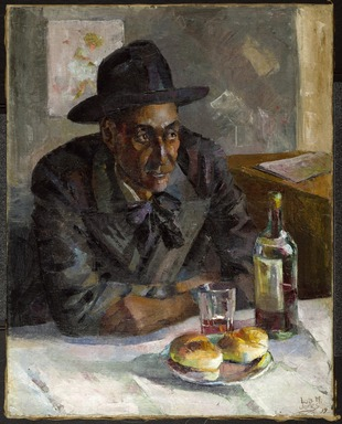 Loïs Mailou Jones (American, 1905-1998). <em>Dans un Café à Paris (Leigh Whipper)</em>, 1939. Oil on canvas, 36 x 29 in. (91.4 x 73.7 cm). Brooklyn Museum, Brooklyn Museum Fund for African American Art and gift of Auldlyn Higgins Williams and E.T. Williams, Jr., 2012.1. © artist or artist's estate (Photo: Brooklyn Museum, 2012.1_edited_version_PS6.jpg)