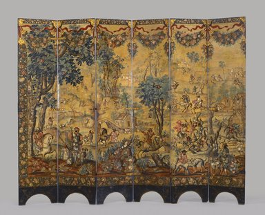 Circle of González Family (Mexican). <em>Folding Screen with the Siege of Belgrade (front) and Hunting Scene (reverse)</em>, ca.1697-1701. Oil on wood, inlaid with mother-of-pearl, 90 1/2 x 108 5/8 in., 183.5 lb. (229.9 x 275.8 cm, 83.24kg). Brooklyn Museum, Gift of Lilla Brown in memory of her husband, John W. Brown, by exchange, 2012.21. Creative Commons-BY (Photo: Brooklyn Museum, 2012.21_side1_PS6.jpg)