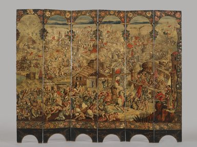 Circle of González Family (Mexican). <em>Folding Screen with the Siege of Belgrade (front) and Hunting Scene (reverse)</em>, ca.1697-1701. Oil on wood, inlaid with mother-of-pearl, 90 1/2 x 108 5/8 in., 183.5 lb. (229.9 x 275.8 cm, 83.24kg). Brooklyn Museum, Gift of Lilla Brown in memory of her husband, John W. Brown, by exchange, 2012.21. Creative Commons-BY (Photo: Brooklyn Museum, 2012.21_side2_PS6.jpg)