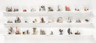 Yuji Agematsu (Japanese, born 1956). <em>Zip; 02-01-12....02-29-12</em>, 2012. Mixed media (wood, latex paint, drywall screws, cigarette cellophane wrapper, gum, glitter, unlit match, copper, candy, rubber, plastic netting, hair, rocks, plastic toy, safety pins, popsicle stick, broken mirror shards, floss, computer chip, cardboard, bird skull, lint, Nerds candy, tree bark, shell fragment, tinsel), shelf dimensions: 11 x 2 1/2 x 30 in. (27.9 x 6.4 x 76.2 cm). Brooklyn Museum, Dorothy and Herbert Vogel Gallerist Award, 2012.30.2. © artist or artist's estate (Photo: Brooklyn Museum, 2012.30.2_PS9.jpg)