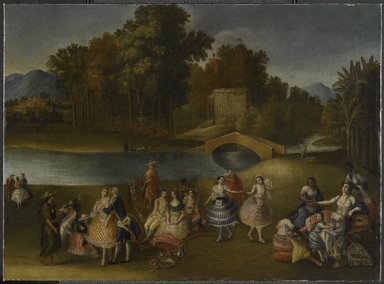 Lima School. <em>A Merry Company on the Banks of the Rímac River</em>, ca.1800. Oil on canvas, 26 x 35 1/2 in. (66 x 90.2 cm). Brooklyn Museum, Gift of Lilla Brown in memory of her husband, John W. Brown, by exchange, 2012.41 (Photo: Brooklyn Museum, 2012.41_PS6.jpg)