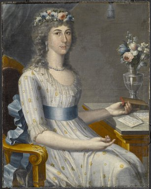 José Campeche (Puerto Rican, 1751-1809). <em>Doña María de los Dolores Gutiérrez del Mazo y Pérez</em>, ca. 1796. Oil on canvas, 32 11/16 x 26 in. (83 x 66 cm). Brooklyn Museum, Gift of Lilla Brown in memory of her husband, John W. Brown, by exchange, 2012.45 (Photo: Brooklyn Museum, 2012.45_PS6.jpg)