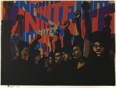 Barbara Jones-Hogu (American, born 1938). <em>Unite</em>, 1971. Screenprint on paper, image: 22 1/2 x 30 in. (57.2 x 76.2 cm). Brooklyn Museum, Dick S. Ramsay Fund, 2012.46. © artist or artist's estate (Photo: Brooklyn Museum, 2012.46_PS6.jpg)