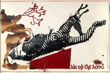 Jitish Kallat (Indian, born 1974). <em>The Lie of the Land</em>, 2004. Acrylic on paper, Sheet: 26 x 39 in. (66 x 99.1 cm). Brooklyn Museum, Gift of Beverly Moss Spatt, 2012.50.20. © artist or artist's estate (Photo: Brooklyn Museum, 2012.50.20_PS6.jpg)