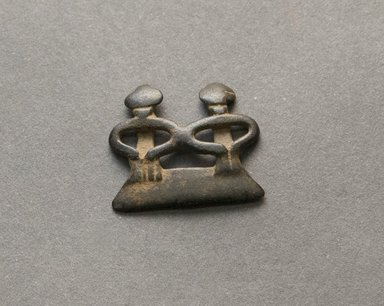Senufo. <em>Divination Twin Figure</em>, early 20th century. Bronze, 13/16 x 1 x 1/8 in. (2 x 2.5 x 0.3 cm). Brooklyn Museum, Gift of Jerome Vogel, 2012.76.24. Creative Commons-BY (Photo: Brooklyn Museum, 2012.76.24_PS10.jpg)