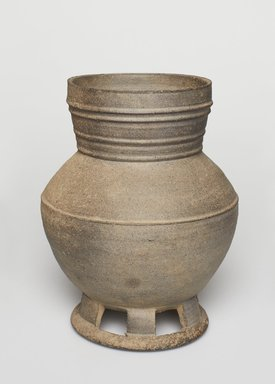 <em>Vessel on Pedestal</em>, 57 B.C.E.-935 C.E. Grey stoneware, 7 11/16 x 5 7/8 in. (19.5 x 15 cm). Brooklyn Museum, Gift of Michele F. Scotto in memory of Jeanette N. Porpora, 2012.79.1. Creative Commons-BY (Photo: , 2012.79.1_PS11.jpg)