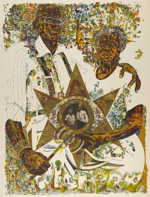 Jeff Donaldson (American, 1932-2004). <em>Victory in the Valley of Eshu</em>, 1971. Screenprint on paper, Sheet: 40 x 30 in. (101.6 x 76.2 cm). Brooklyn Museum, Gift of R.M. Atwater, Anna Wolfrom Dove, Alice Fiebiger, Joseph Fiebiger, Belle Campbell Harriss, and Emma L. Hyde, by exchange, Designated Purchase Fund, Mary Smith Dorward Fund, Dick S. Ramsay Fund, and  Carll H. de Silver Fund, 2012.80.12. © artist or artist's estate (Photo: Brooklyn Museum, 2012.80.12_PS6.jpg)
