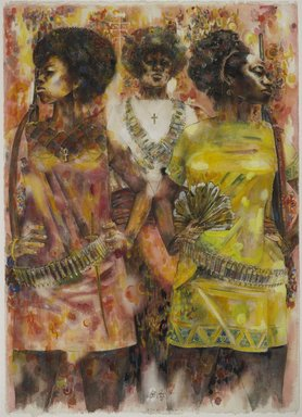 Jeff Donaldson (American, 1932-2004). <em>Wives of Shango</em>, 1969. Matte, semi-gloss and gold metallic paint with traces of pen and brown ink with scratching out, over traces of graphite, on thick, rough texture, hand-made wove paper, sheet: 30 x 22 in. (76.2 x 55.9 cm). Brooklyn Museum, Gift of R.M. Atwater, Anna Wolfrom Dove, Alice Fiebiger, Joseph Fiebiger, Belle Campbell Harriss, and Emma L. Hyde, by exchange, Designated Purchase Fund, Mary Smith Dorward Fund, Dick S. Ramsay Fund, and  Carll H. de Silver Fund, 2012.80.13. © artist or artist's estate (Photo: Brooklyn Museum, 2012.80.13_PS6.jpg)
