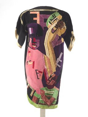 Jae Jarrell (American, born 1935). <em>Ebony Family</em>, ca. 1968. Velvet dress with velvet collage, 38 1/2 x 38 x 1/2 in. (97.8 x 96.5 x 1.3 cm). Brooklyn Museum, Gift of R.M. Atwater, Anna Wolfrom Dove, Alice Fiebiger, Joseph Fiebiger, Belle Campbell Harriss, and Emma L. Hyde, by exchange, Designated Purchase Fund, Mary Smith Dorward Fund, Dick S. Ramsay Fund, and  Carll H. de Silver Fund, 2012.80.15. © artist or artist's estate (Photo: Brooklyn Museum, 2012.80.15_front_PS9.jpg)