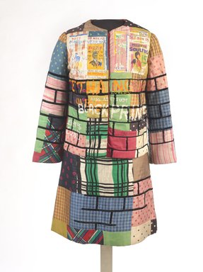 Jae Jarrell (American, born 1935). <em>Urban Wall Suit</em>, ca. 1969. Sewn and painted cotton and silk, two-piece suit, 37 1/2 x 27 1/2 x 1/2 in. (95.3 x 69.9 x 1.3 cm). Brooklyn Museum, Gift of R.M. Atwater, Anna Wolfrom Dove, Alice Fiebiger, Joseph Fiebiger, Belle Campbell Harriss, and Emma L. Hyde, by exchange, Designated Purchase Fund, Mary Smith Dorward Fund, Dick S. Ramsay Fund, and  Carll H. de Silver Fund, 2012.80.16. © artist or artist's estate (Photo: Brooklyn Museum, 2012.80.16_front_PS9.jpg)