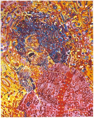 Wadsworth A. Jarrell (American, born 1929). <em>Revolutionary</em>, 1972. Screenprint on paper, Sheet: 34 x 26 1/2 in. (86.4 x 67.3 cm). Brooklyn Museum, Gift of R.M. Atwater, Anna Wolfrom Dove, Alice Fiebiger, Joseph Fiebiger, Belle Campbell Harriss, and Emma L. Hyde, by exchange, Designated Purchase Fund, Mary Smith Dorward Fund, Dick S. Ramsay Fund, and  Carll H. de Silver Fund, 2012.80.17. © artist or artist's estate (Photo: Brooklyn Museum, 2012.80.17_PS6.jpg)