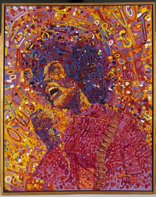 Wadsworth A. Jarrell (American, born 1929). <em>Revolutionary (Angela Davis)</em>, 1971. Acrylic and mixed media on canvas, 64 x 51 in. (162.6 x 129.5 cm). Brooklyn Museum, Gift of R.M. Atwater, Anna Wolfrom Dove, Alice Fiebiger, Joseph Fiebiger, Belle Campbell Harriss, and Emma L. Hyde, by exchange, Designated Purchase Fund, Mary Smith Dorward Fund, Dick S. Ramsay Fund, and  Carll H. de Silver Fund, 2012.80.18. © artist or artist's estate (Photo: Brooklyn Museum, 2012.80.18_PS9.jpg)