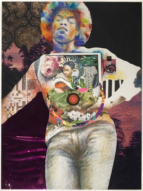 Ben F. Jones (American, born 1941). <em>Untitled (Murray)</em>, 1973. Watercolor, colored pencil and mixed media collage on board , Sheet: 39 1/2 x 29 1/4 in. (100.3 x 74.3 cm). Brooklyn Museum, Gift of R.M. Atwater, Anna Wolfrom Dove, Alice Fiebiger, Joseph Fiebiger, Belle Campbell Harriss, and Emma L. Hyde, by exchange, Designated Purchase Fund, Mary Smith Dorward Fund, Dick S. Ramsay Fund, and  Carll H. de Silver Fund, 2012.80.21. © artist or artist's estate (Photo: Brooklyn Museum, 2012.80.21_PS6.jpg)