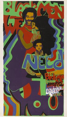 Barbara Jones-Hogu (American, born 1938). <em>Black Men We Need You</em>, ca. 1971. Color screenprint, sheet: 38 x 20 in. (96.5 x 50.8 cm). Brooklyn Museum, Gift of R.M. Atwater, Anna Wolfrom Dove, Alice Fiebiger, Joseph Fiebiger, Belle Campbell Harriss, and Emma L. Hyde, by exchange, Designated Purchase Fund, Mary Smith Dorward Fund, Dick S. Ramsay Fund, and  Carll H. de Silver Fund, 2012.80.23. © artist or artist's estate (Photo: Brooklyn Museum, 2012.80.23_PS6.jpg)