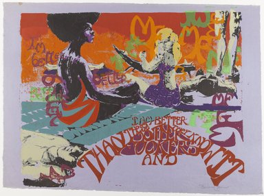 Barbara Jones-Hogu (American, born 1938). <em>I'm Better Than These Motherfuckers</em>, ca. 1970. Color screenprint, sheet: 20 x 30 in. (50.8 x 76.2 cm). Brooklyn Museum, Gift of R.M. Atwater, Anna Wolfrom Dove, Alice Fiebiger, Joseph Fiebiger, Belle Campbell Harriss, and Emma L. Hyde, by exchange, Designated Purchase Fund, Mary Smith Dorward Fund, Dick S. Ramsay Fund, and  Carll H. de Silver Fund, 2012.80.24. © artist or artist's estate (Photo: Brooklyn Museum, 2012.80.24_PS4.jpg)
