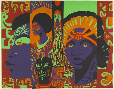 Barbara Jones-Hogu (American, born 1938). <em>Relate to Your Heritage</em>, 1971. Color screenprint, sheet: 34 x 43 in. (86.4 x 109.2 cm). Brooklyn Museum, Gift of R.M. Atwater, Anna Wolfrom Dove, Alice Fiebiger, Joseph Fiebiger, Belle Campbell Harriss, and Emma L. Hyde, by exchange, Designated Purchase Fund, Mary Smith Dorward Fund, Dick S. Ramsay Fund, and  Carll H. de Silver Fund, 2012.80.26. © artist or artist's estate (Photo: Brooklyn Museum, 2012.80.26_PS6.jpg)