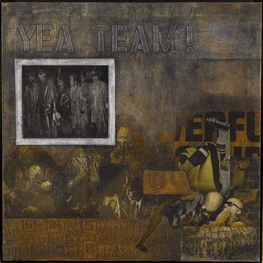 Ralph Arnold (American, 1928-2006). <em>Yeah Team</em>, ca. 1970. Oil and mixed media collage on canvas, 30 x 30 in. (76.2 x 76.2 cm). Brooklyn Museum, Gift of R.M. Atwater, Anna Wolfrom Dove, Alice Fiebiger, Joseph Fiebiger, Belle Campbell Harriss, and Emma L. Hyde, by exchange, Designated Purchase Fund, Mary Smith Dorward Fund, Dick S. Ramsay Fund, and  Carll H. de Silver Fund, 2012.80.2. © artist or artist's estate (Photo: Brooklyn Museum, 2012.80.2_PS6.jpg)